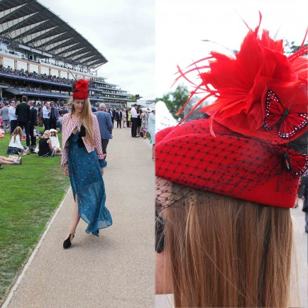 Liza Urla; Bespoke hat by Nora Voon, jacket by Fairly, dress by Reformation, shoes by Zara