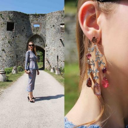 Liza Urla, Earrings by H.Stern, dress by Emilia Wickstead, pumps by Christian Louboutin, clutch by Bottega Veneta, shades by Celine